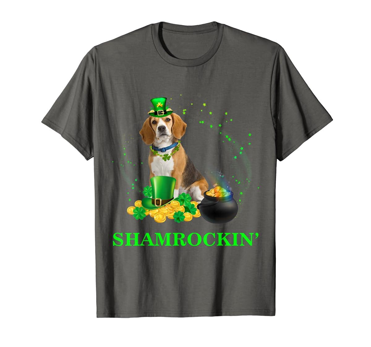 Shamrockin' Beagle St Patricks Day Tshirt Dog Gifts-Men's T-Shirt-Dark Heather