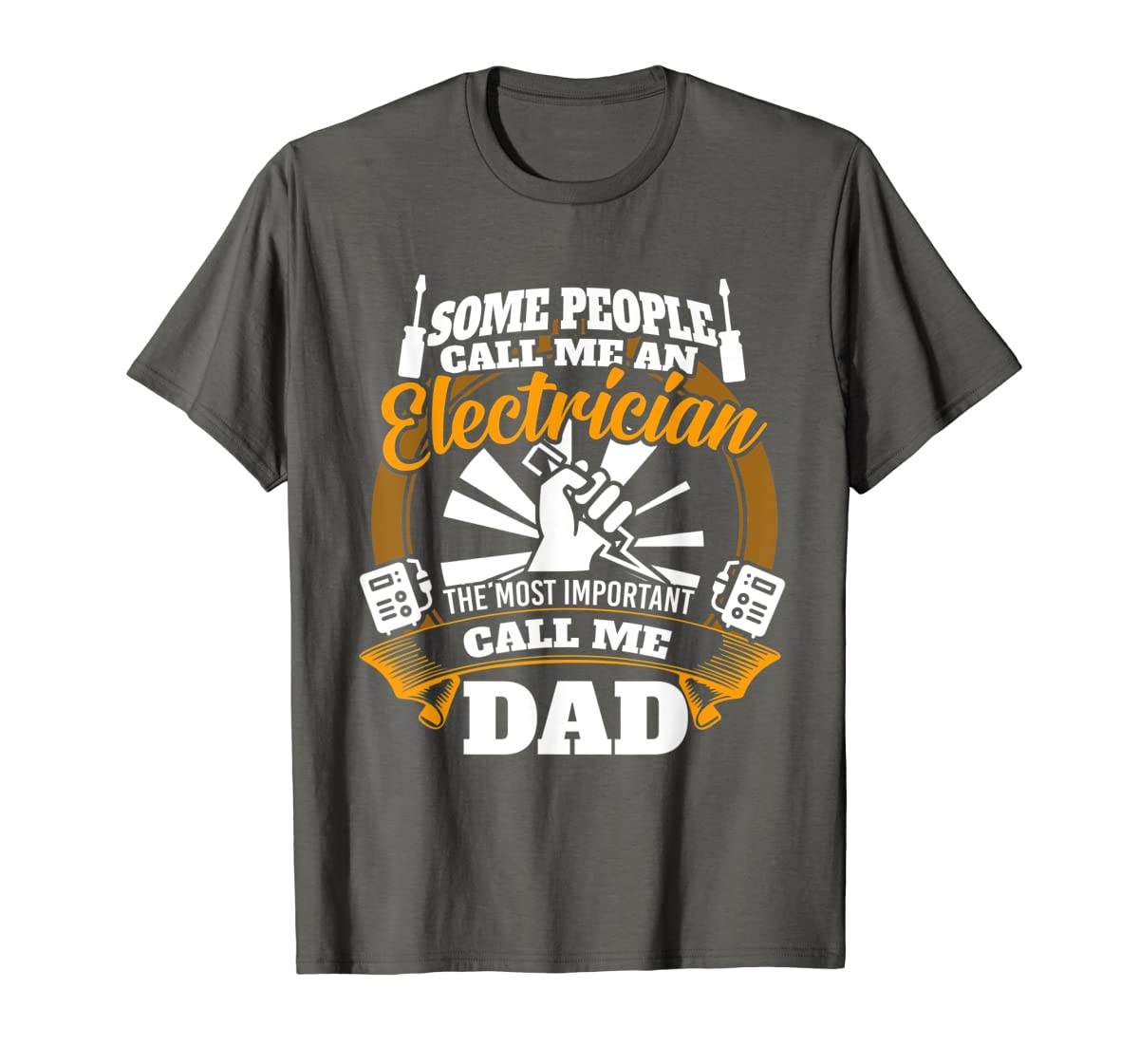 Mens Funny Electrician T-shirt for dad who loves technician gifts-Men's T-Shirt-Dark Heather