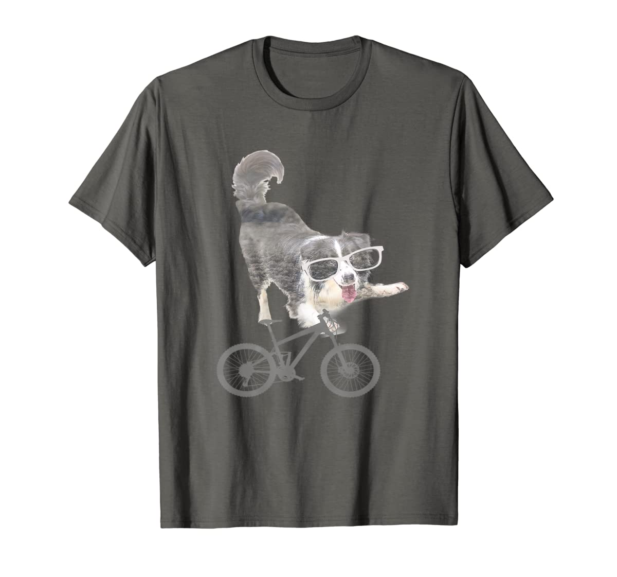 Border collie on a Bicycle T-shirt-Men's T-Shirt-Dark Heather