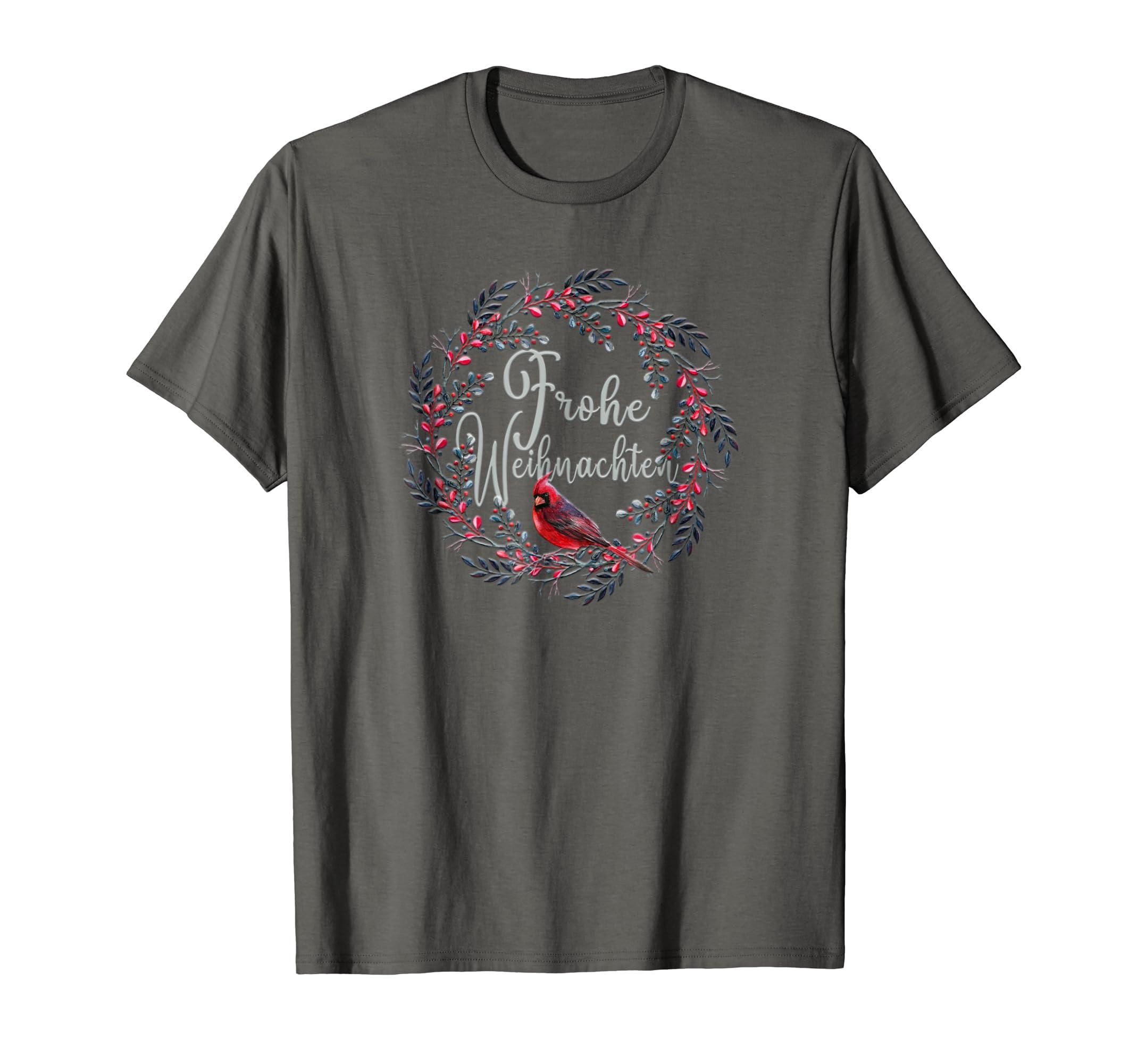 T Shirt Weihnachten.Amazon Com Frohe Weihnachten Merry Christmas German Cardinal T