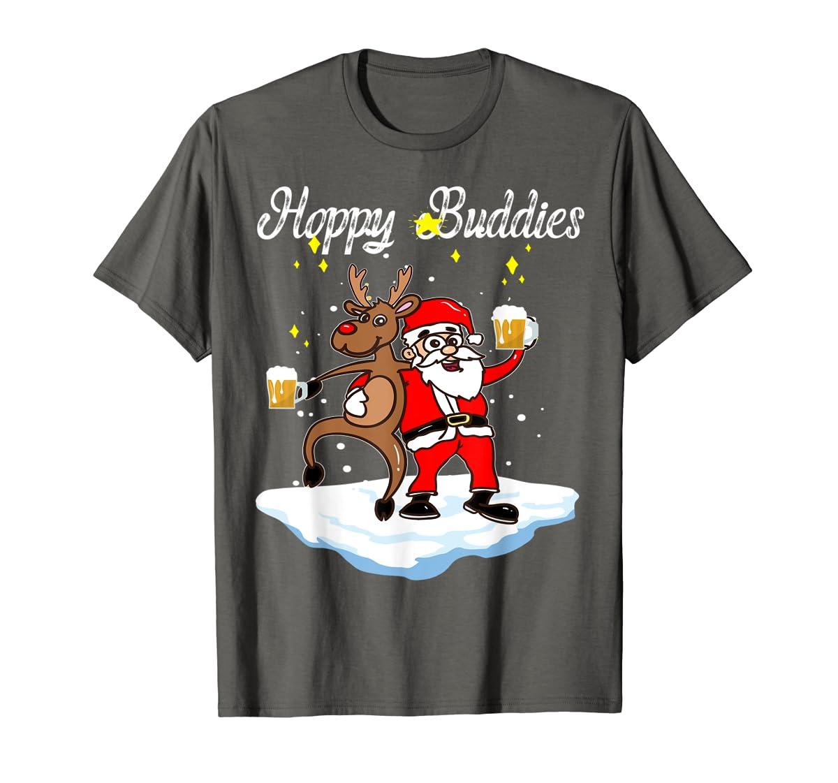 Santa Dancing Reindeer Beer Drinking T-Shirt Christmas Party T-Shirt-Men's T-Shirt-Dark Heather
