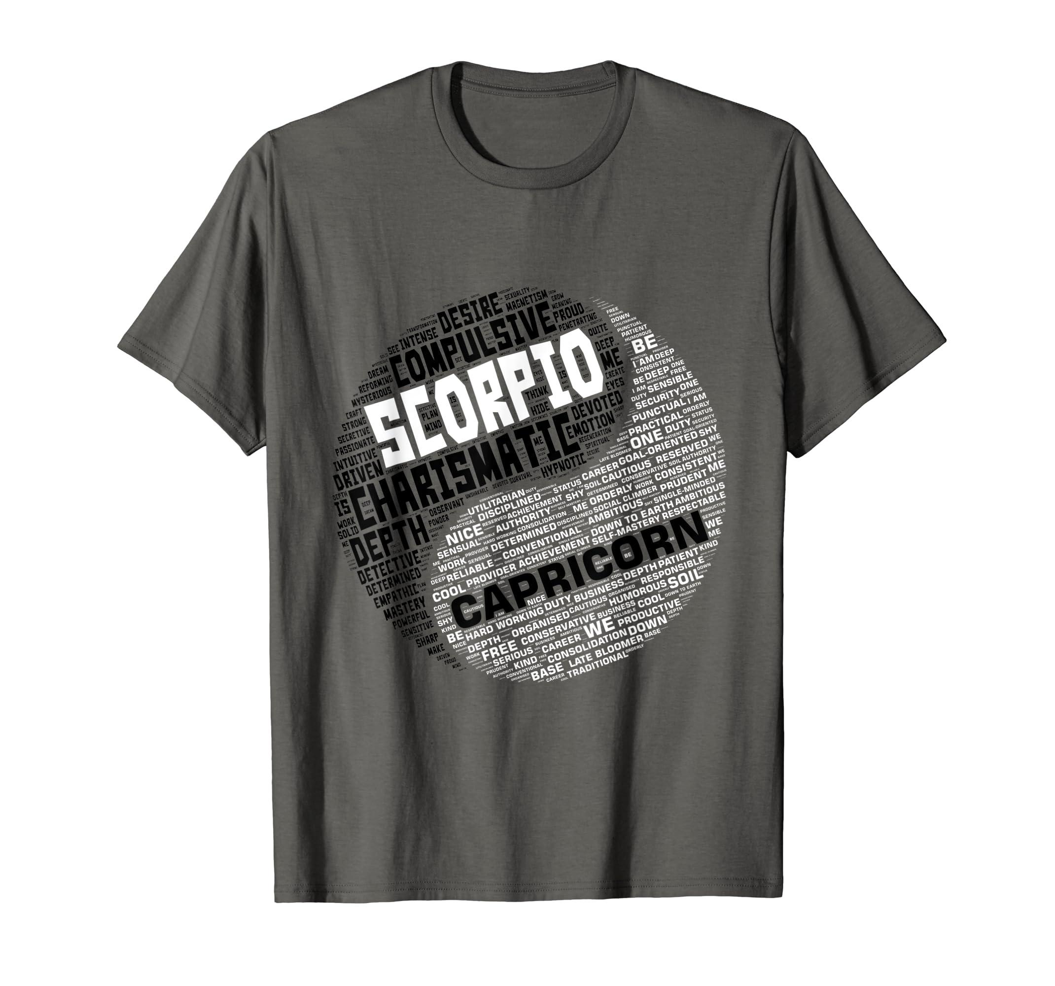 Amazon com: Zodiac Facts: Men & Women Scorpio and Capricorn T-shirt