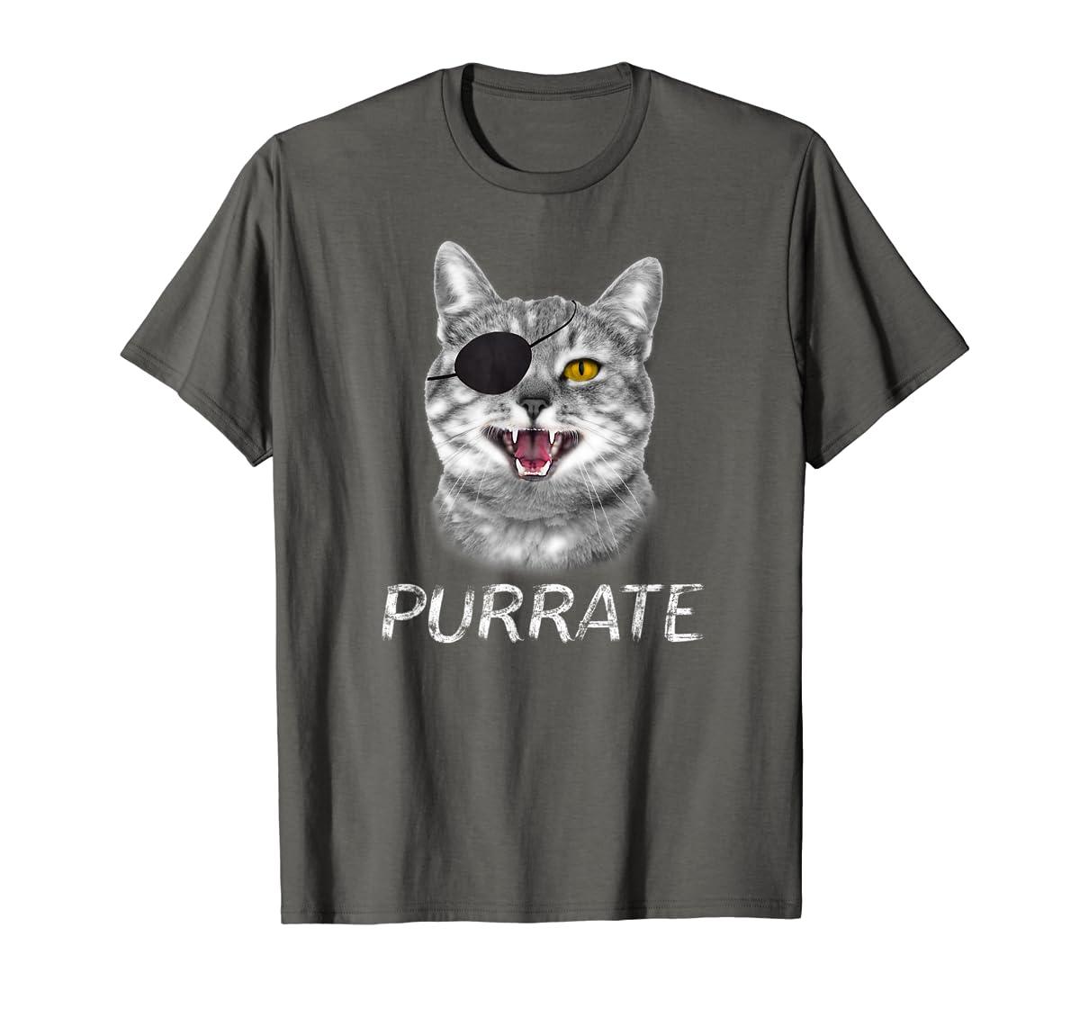 Halloween Trick Treat Cat Pirate Purrate T-Shirt-Men's T-Shirt-Dark Heather