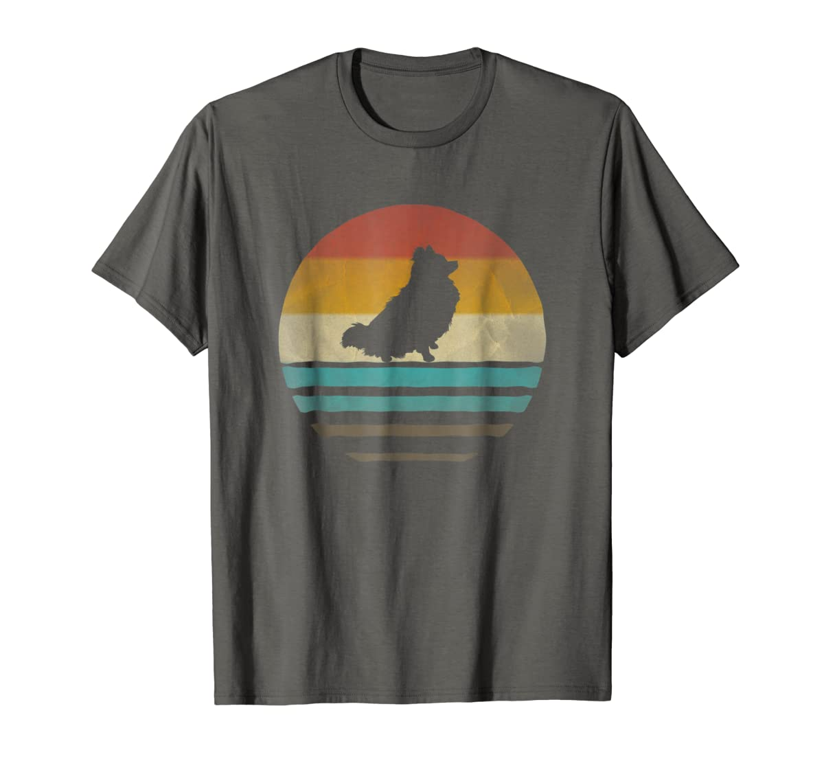 Pomeranian Dog Shirt Retro Vintage 70s Silhouette Distressed-Men's T-Shirt-Dark Heather