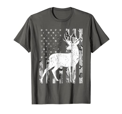 21ebd6bedab82 Image Unavailable. Image not available for. Color: Deer hunting Tshirt  Camouflage USA Flag ...
