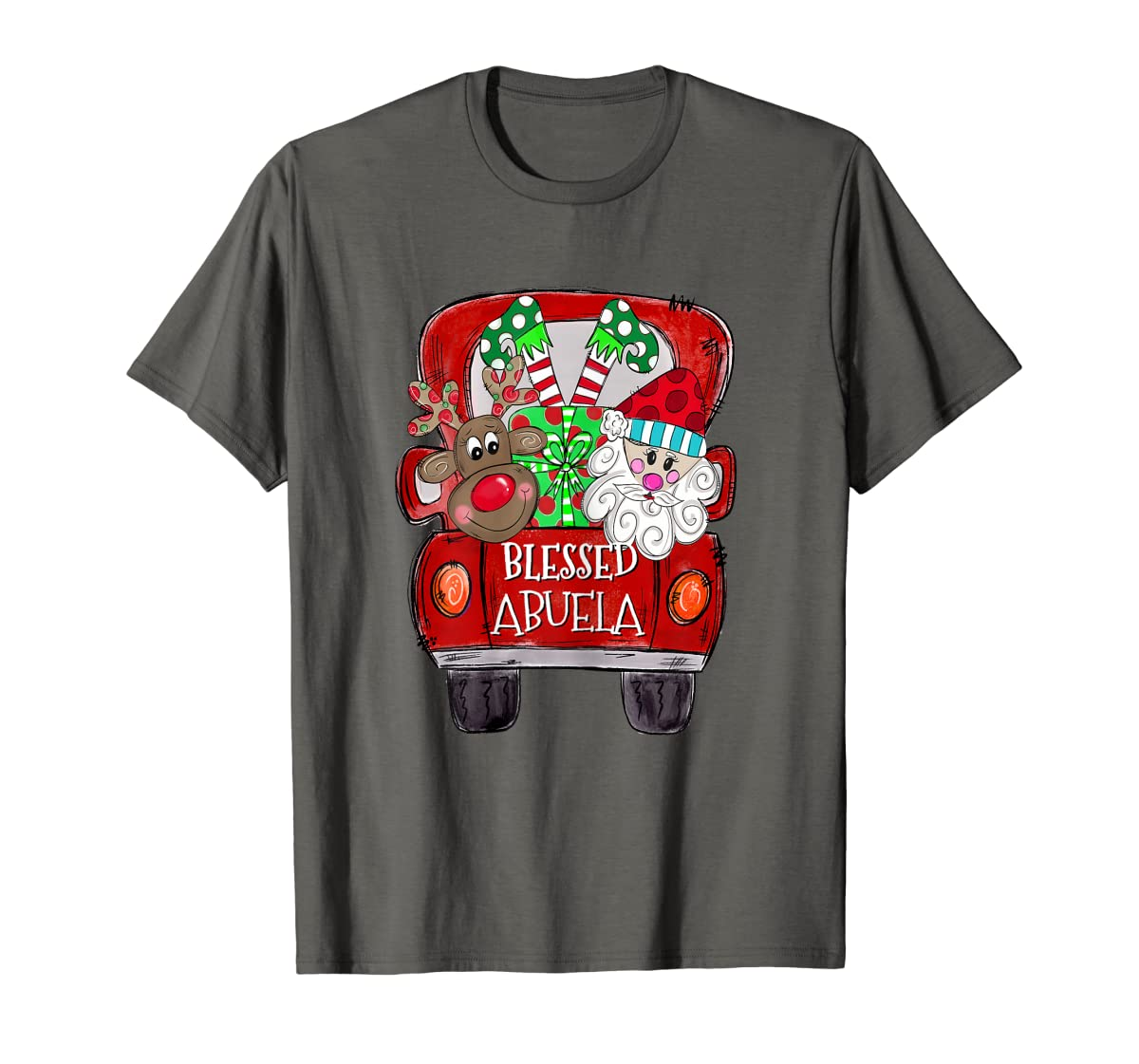 Womens Abuela Claus Cute Christmas Truck - Christmas Gift T-Shirt-Men's T-Shirt-Dark Heather