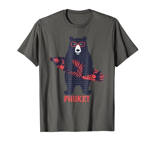 amazon com phuket tropical surfing bear t shirt clothing