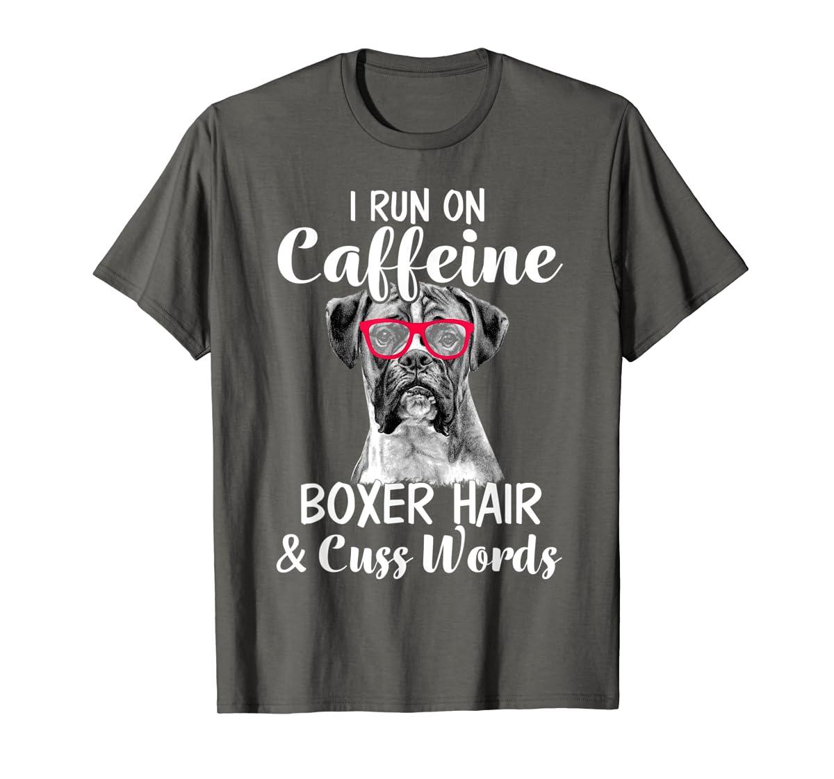 I Run On Caffeine Boxer Hair Mom Tshirt, Mothers Day Shirt-Men's T-Shirt-Dark Heather