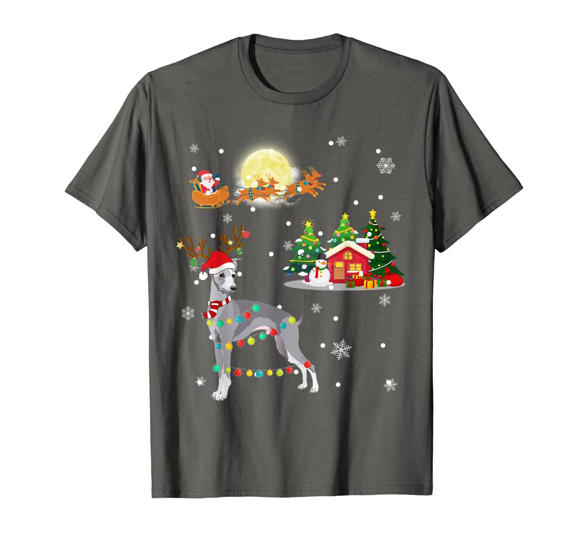 Greyhound Dog Led Light Christmas 2019 Gift T-Shirt-Men's T-Shirt-Dark Heather