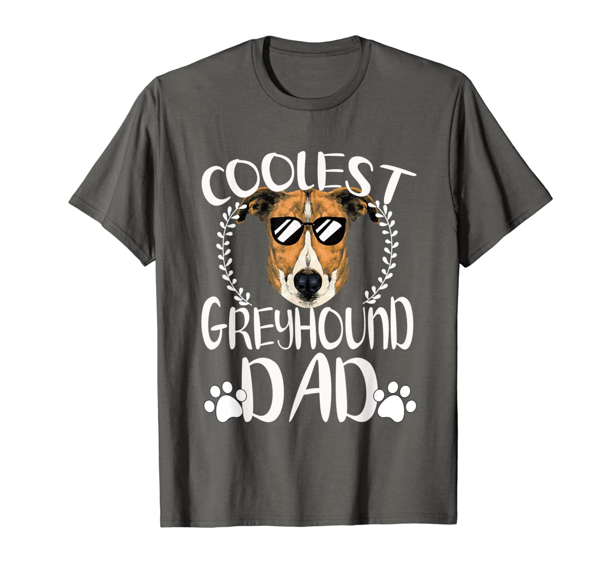 Glasses Coolest Greyhound Dog Dad T-Shirt Father's Day Gifts-Men's T-Shirt-Dark Heather