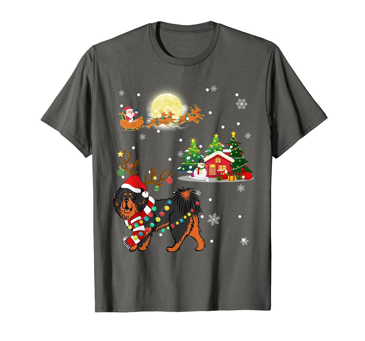 Tibetan Mastiff Dog Led Light Christmas 2019 Gift T-Shirt-Men's T-Shirt-Dark Heather