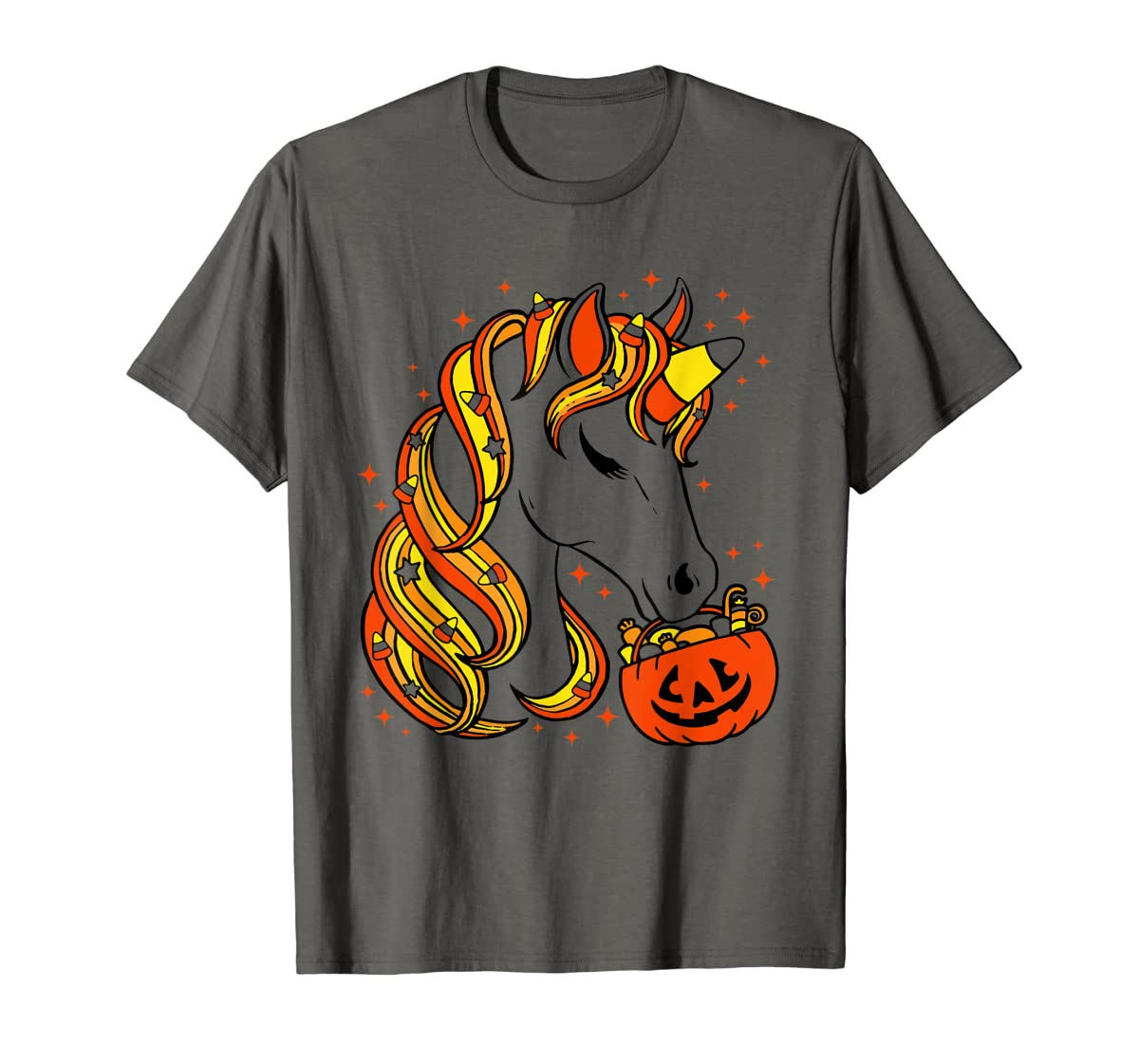 Cute Candy Corn Unicorn Halloween Top T-Shirt-Men's T-Shirt-Dark Heather