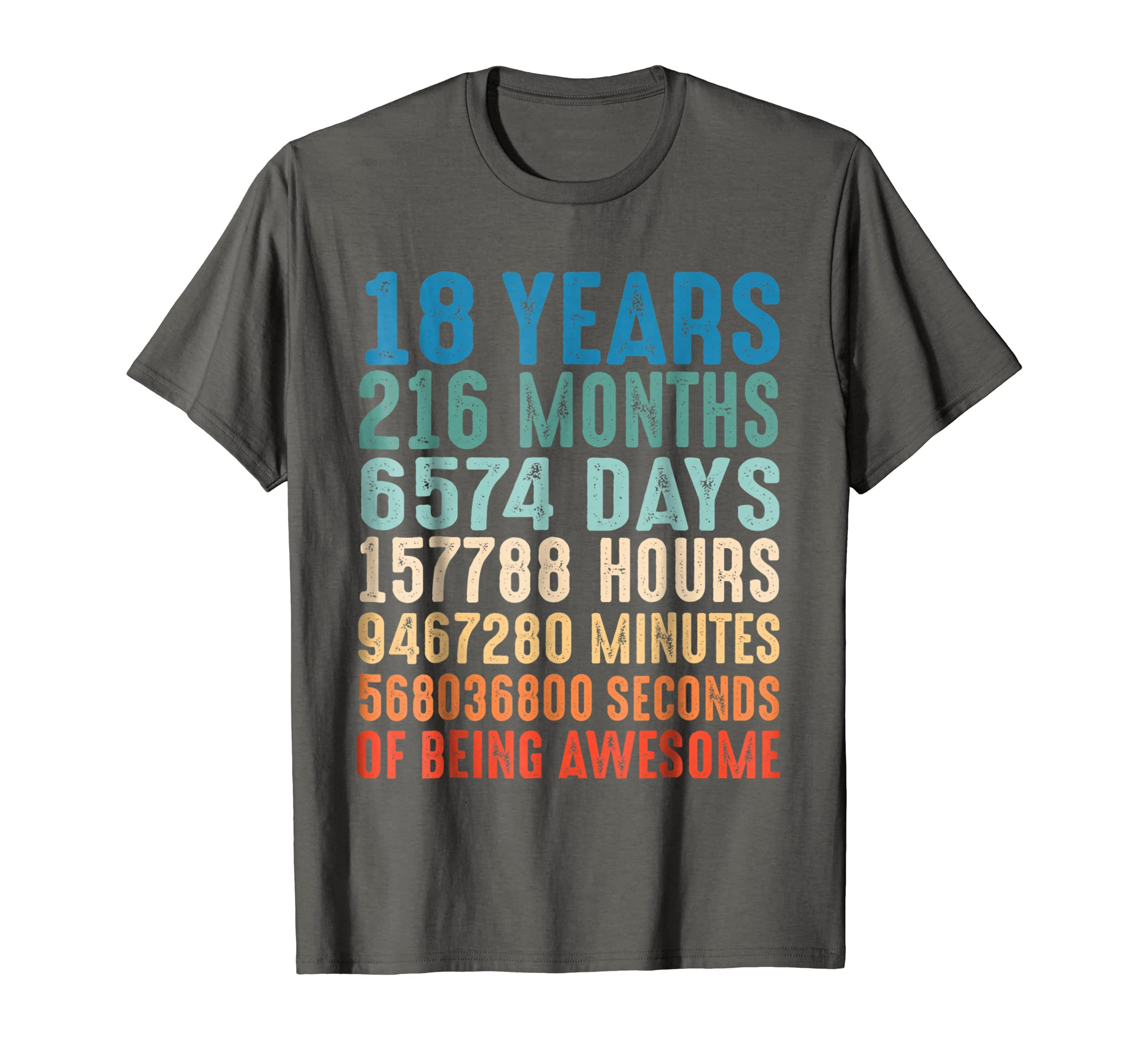 18 Years Old 18th Birthday Vintage Retro T Shirt 216 Months-Yolotee