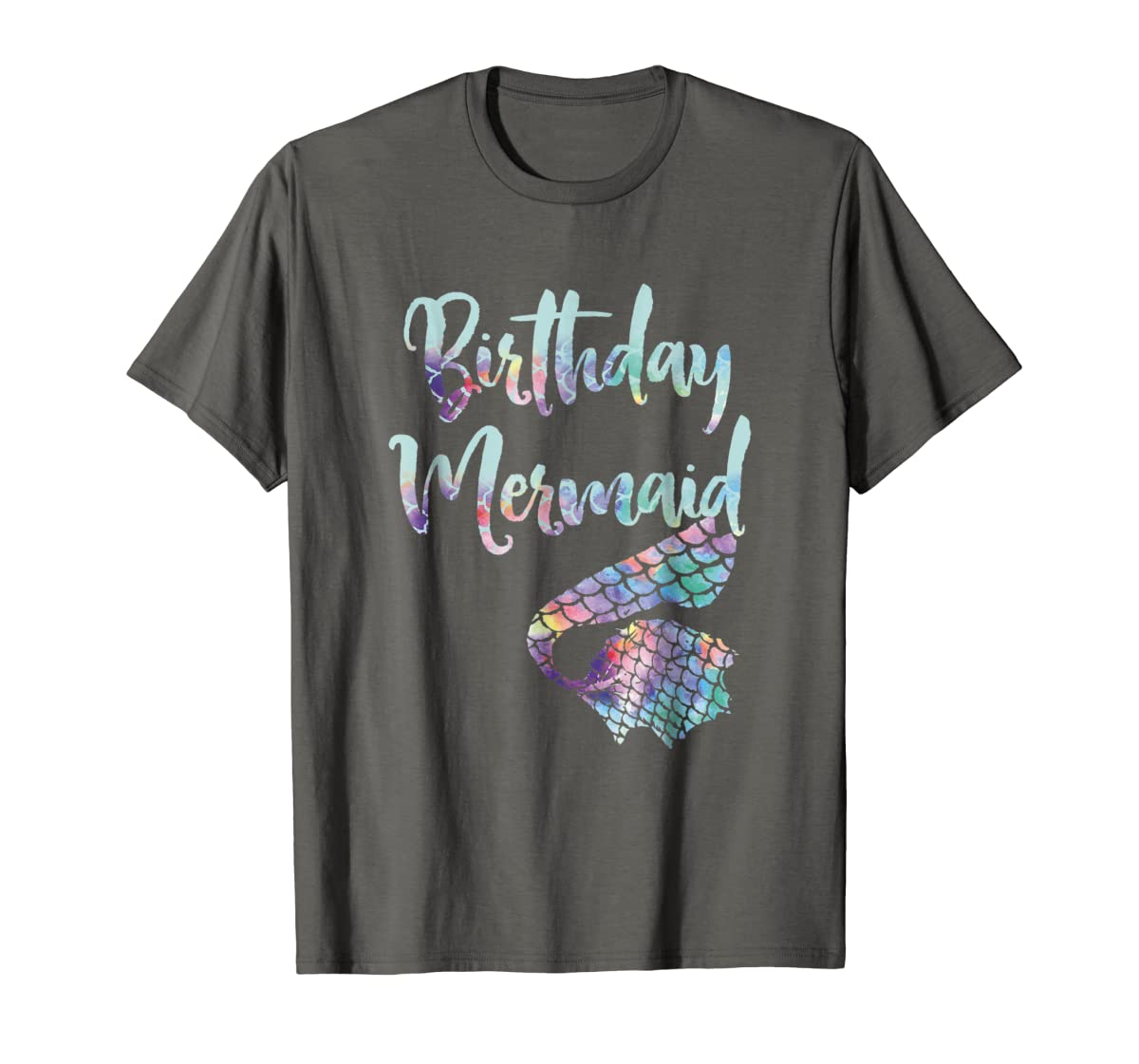 Birthday Mermaid Shirt-Men's T-Shirt-Dark Heather