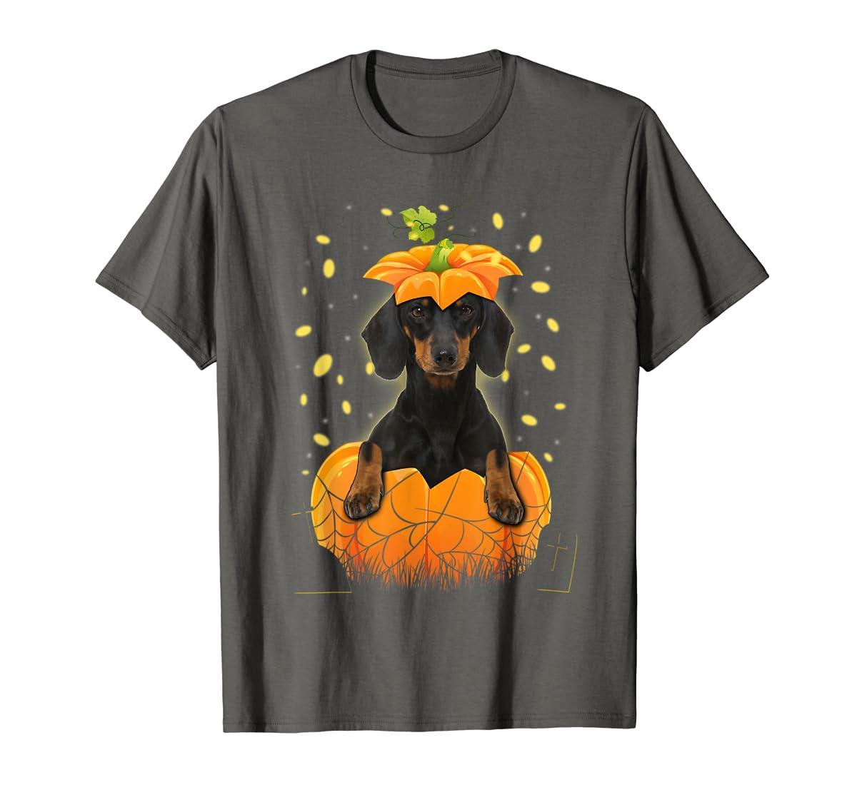 Happy Halloween Funny Dachshund Pumpkin T-Shirt-Men's T-Shirt-Dark Heather