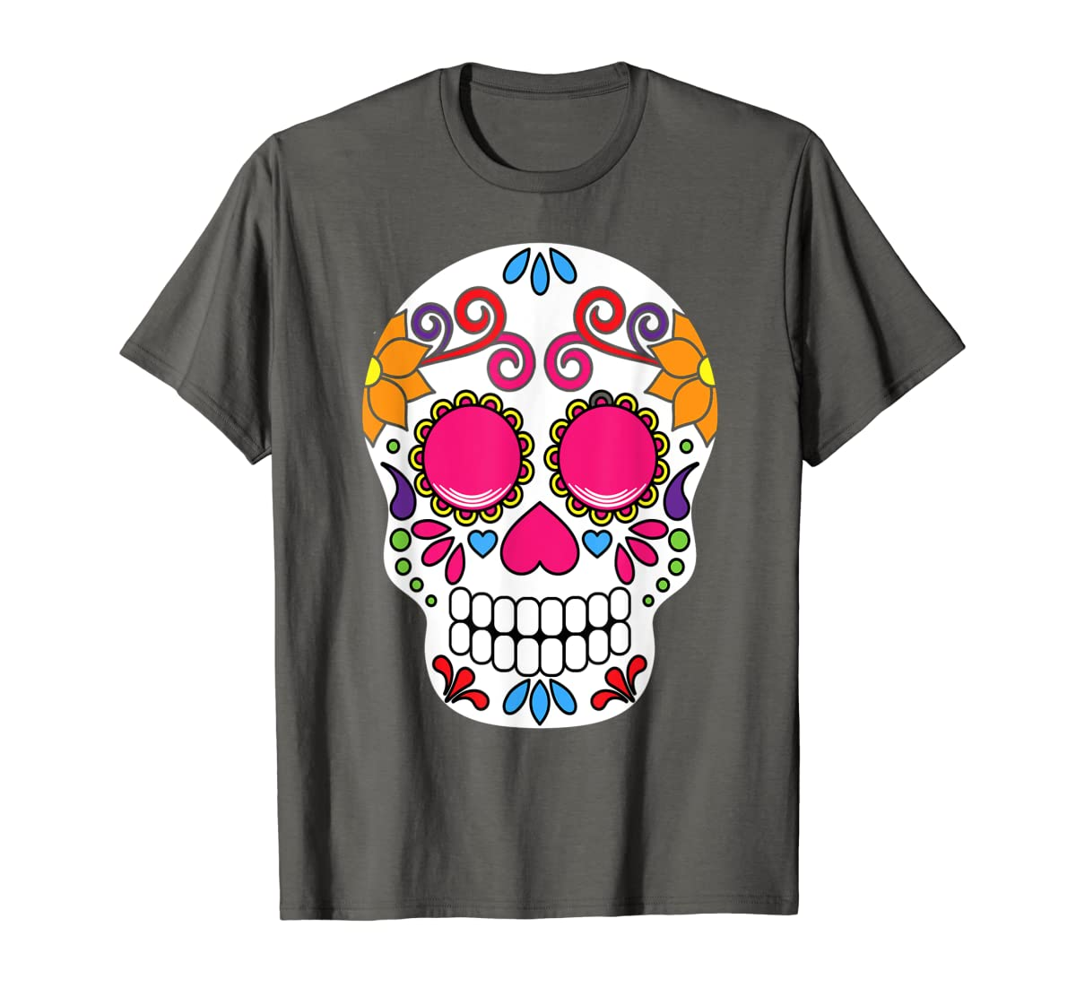 Colorful Day Of The Dead Sugar Skull Halloween T-shirt-Men's T-Shirt-Dark Heather