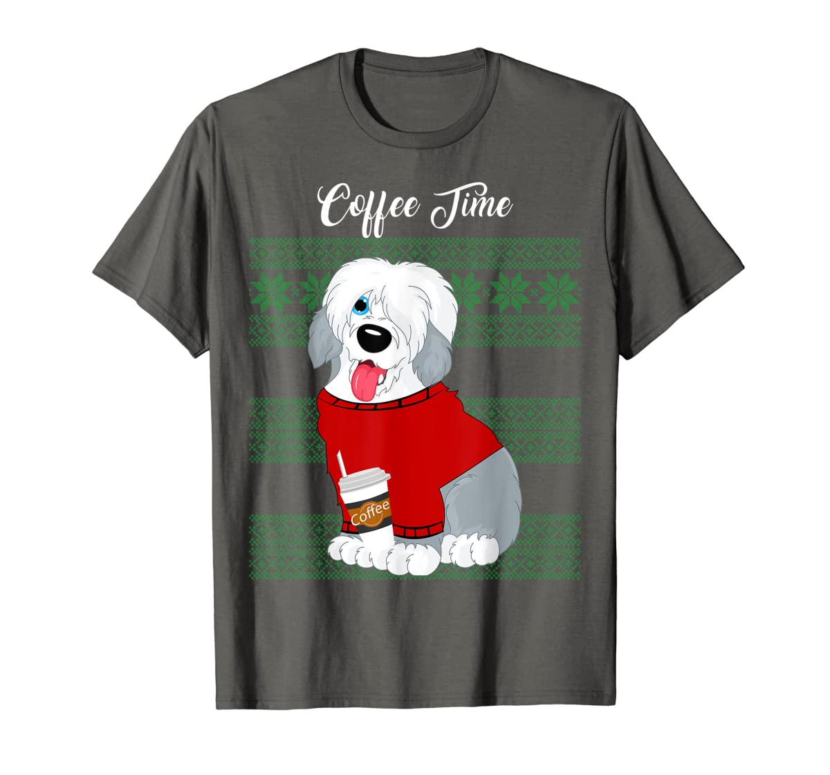 Old English Sheepdog Christmas Coffee Time Dog Long Sleeve-Men's T-Shirt-Dark Heather