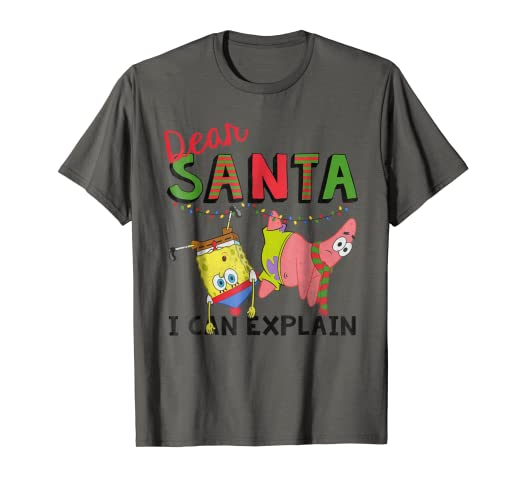 8f4f7ef2a Amazon.com: SpongeBob SquarePants Santa I Can Explain Graphic T ...