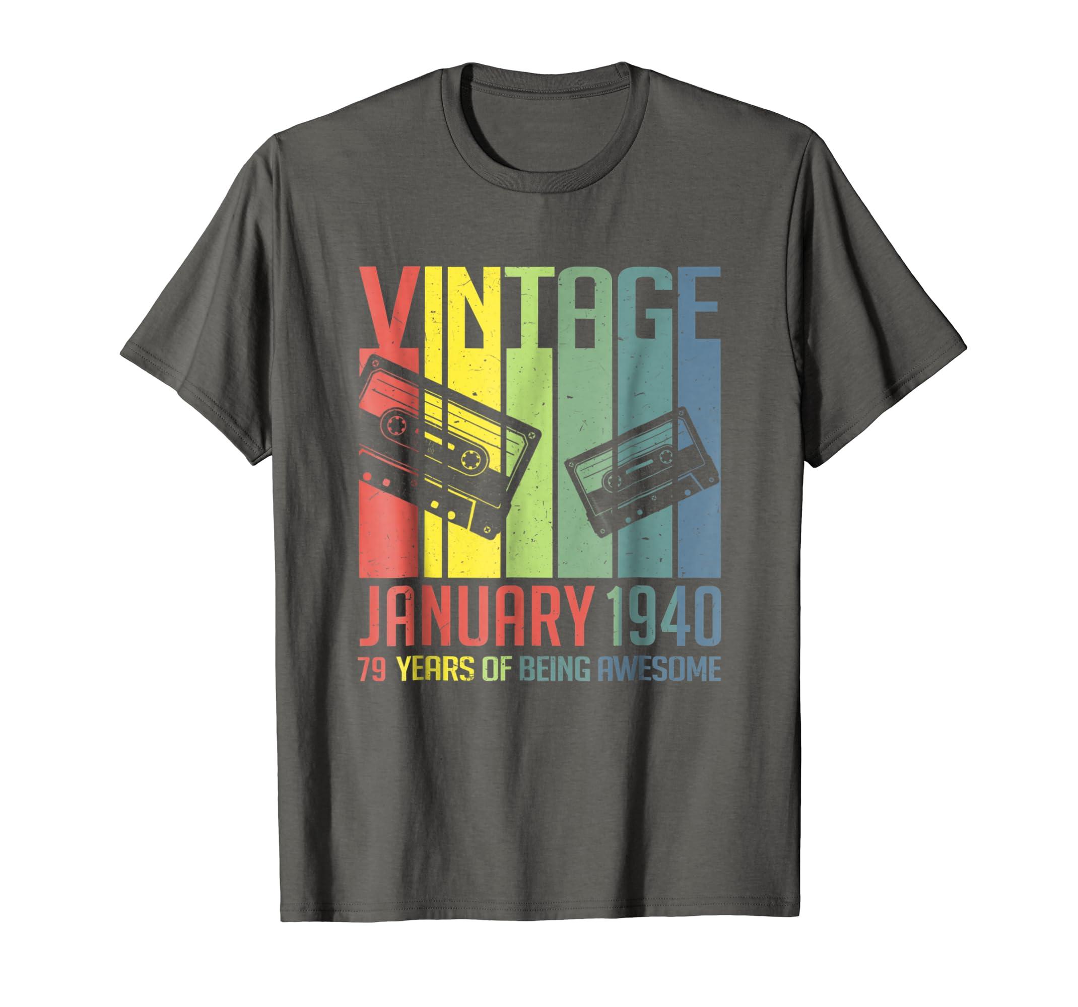 Amazon com: January 1940 Tshirt Retro Vintage 79th Birthday