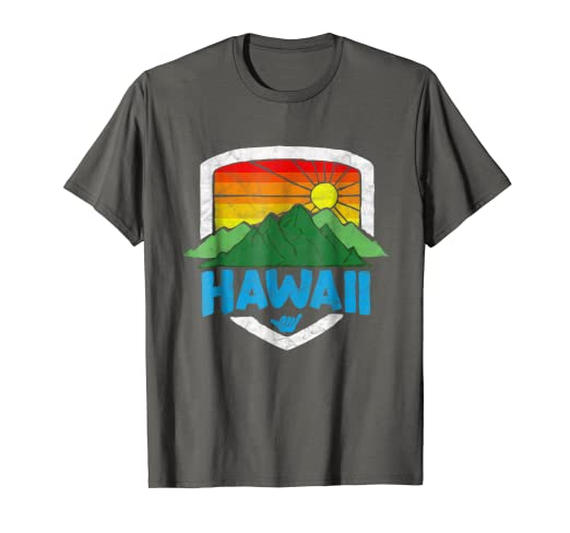 34d502f7be Vintage Hawaii Graphic Tee - Retro Rainbow Sun Shirt