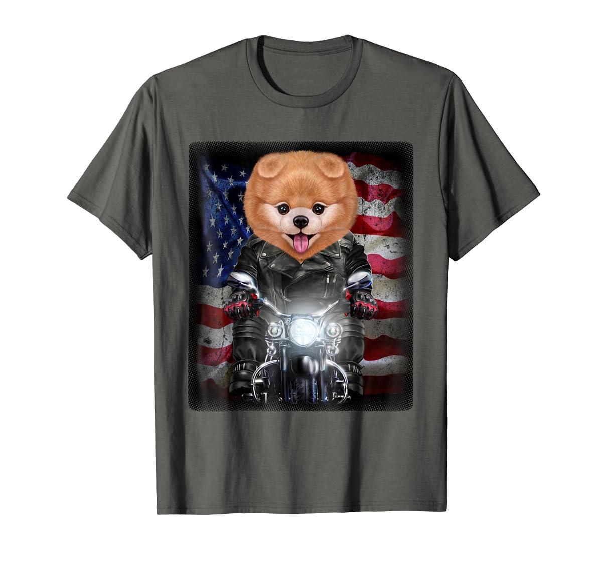 Pomeranian Dog on Motorbike with Flag of USA - T-Shirt-Men's T-Shirt-Dark Heather