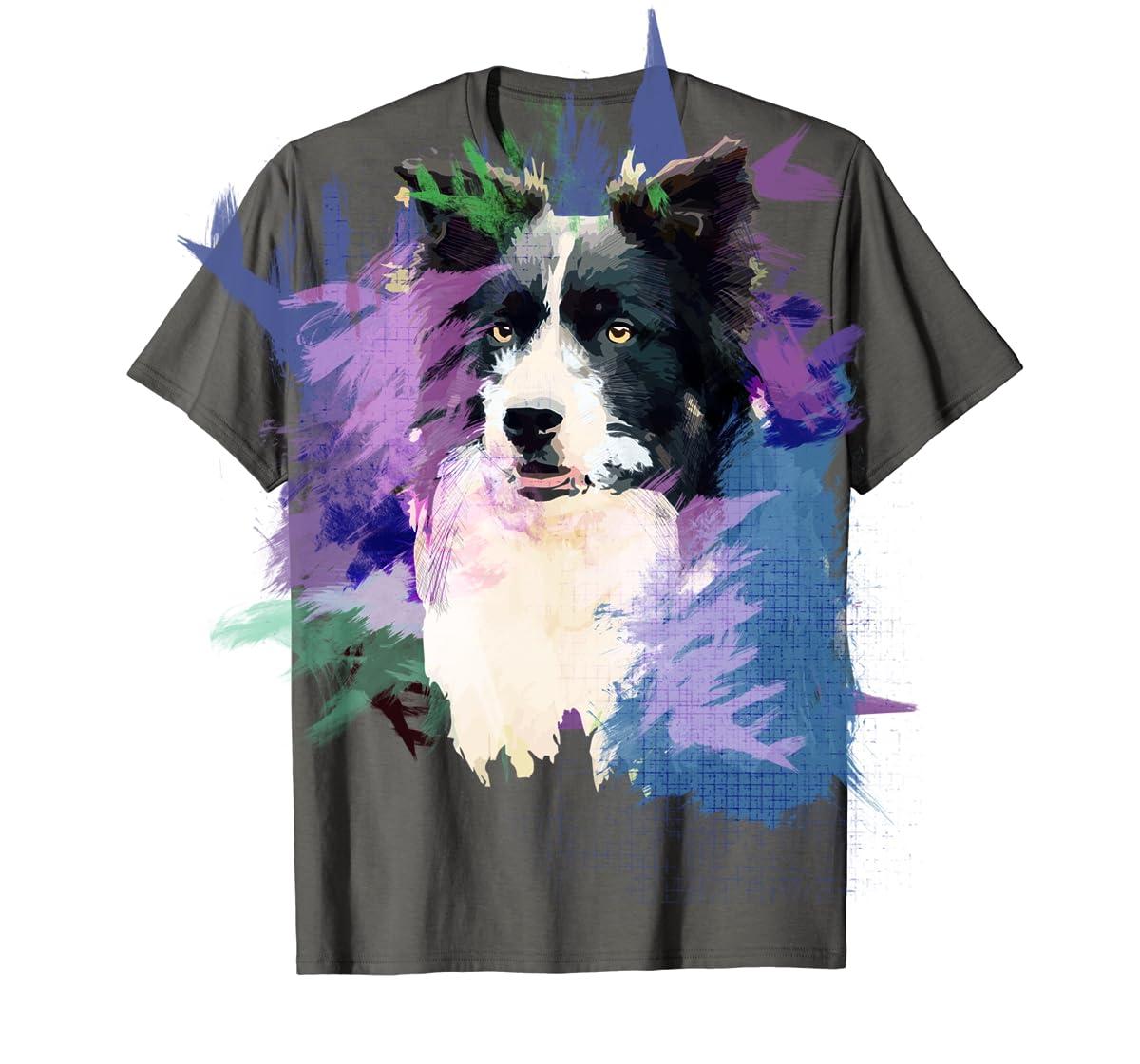 Border Collie T-Shirt Splash Art Dog Owner Gift Tee Shirt-Men's T-Shirt-Dark Heather
