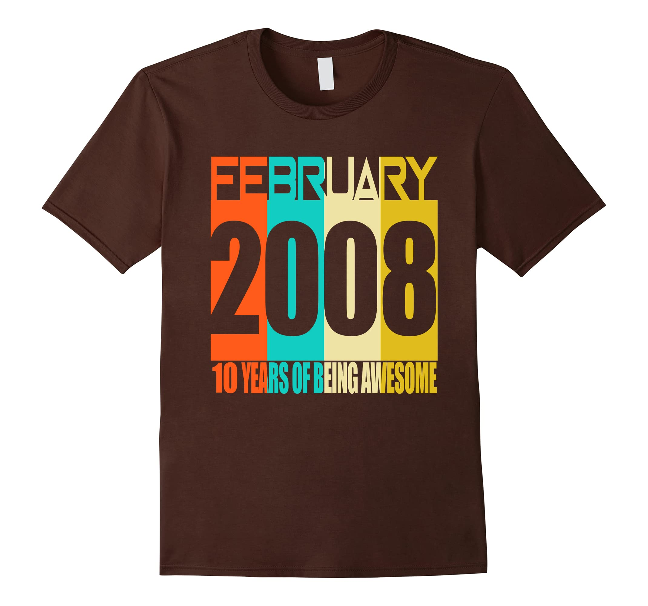 February 2008 10th Birthday Gifts 10 yrs old Bday T-shirt-RT