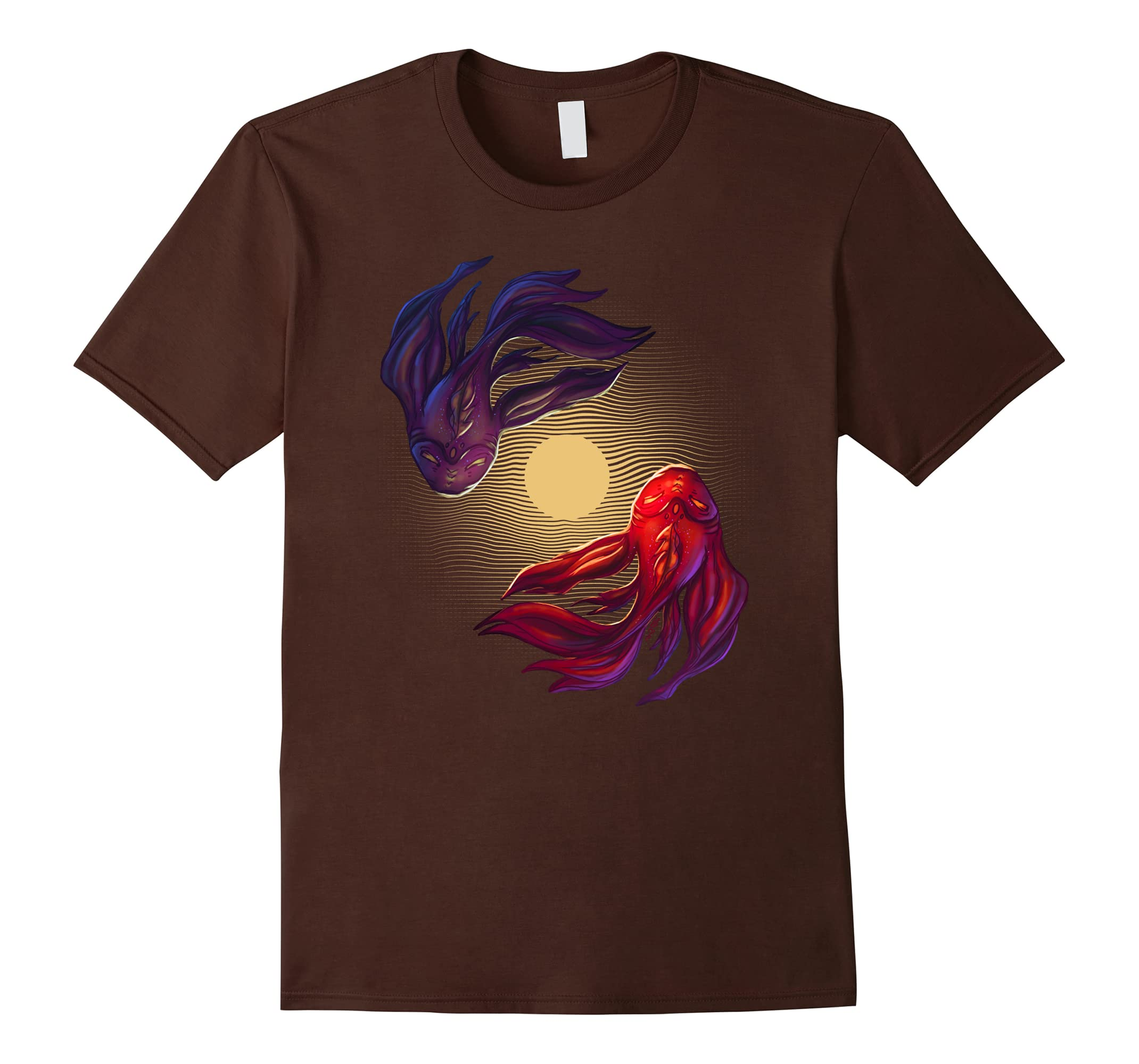 Spiritual Zen Koi Fish in Moon Pond T-Shirt-RT