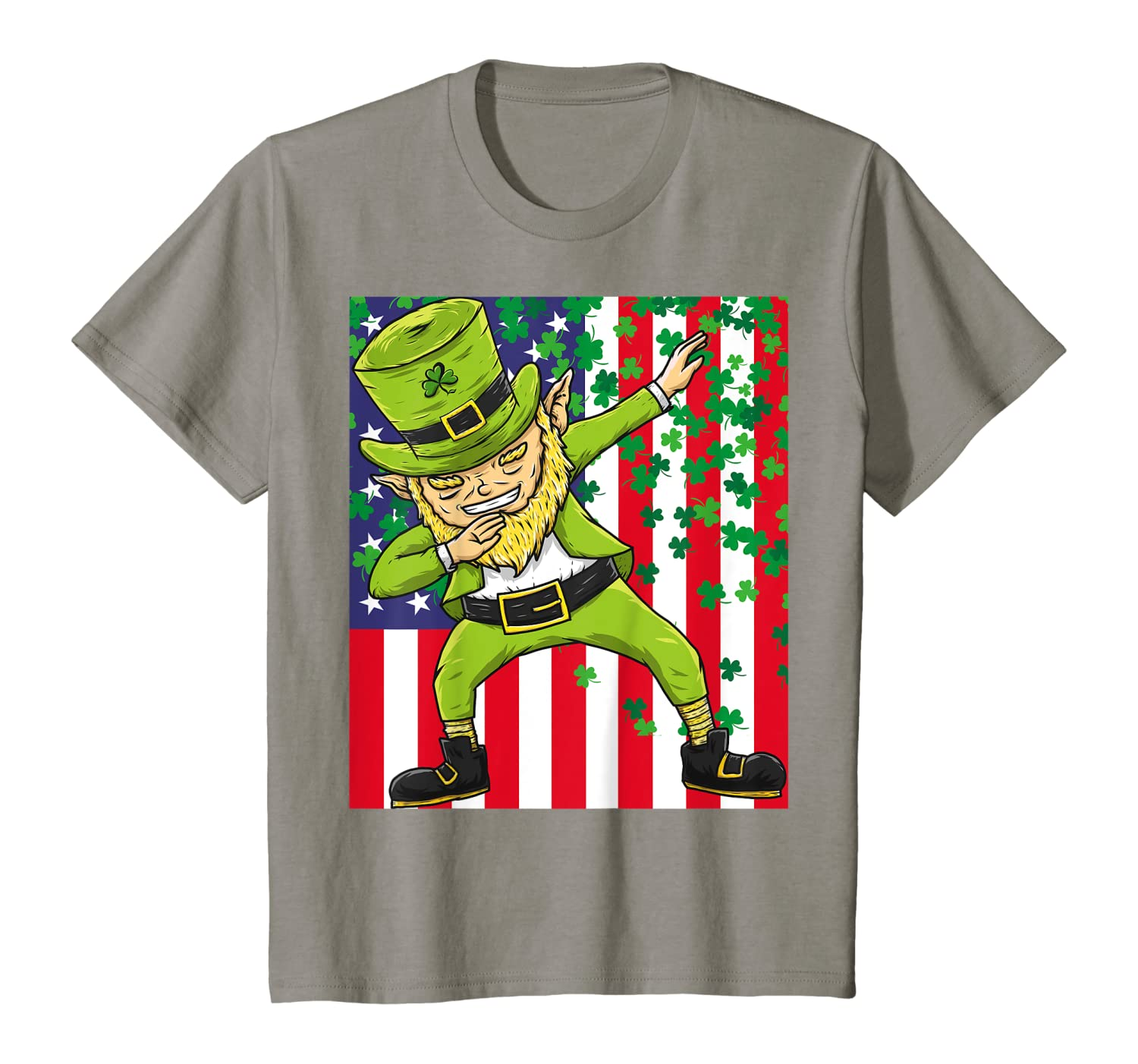 American Flag Dabbing Leprechaun  St Patricks Day Tee T-Shirt-Awarplus