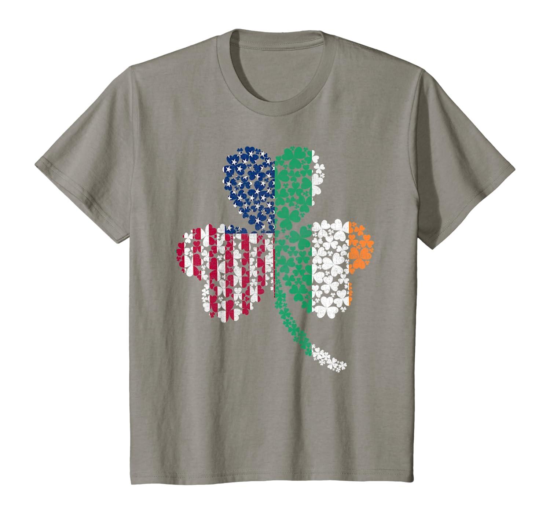 Irish USA American Flag Ireland Shamrock St Patrick's Day T-Shirt-Awarplus