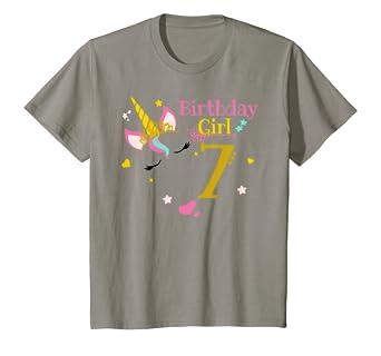 Amazon.com: Niños Unicorn 7o cumpleaños camisa cumpleaños de ...
