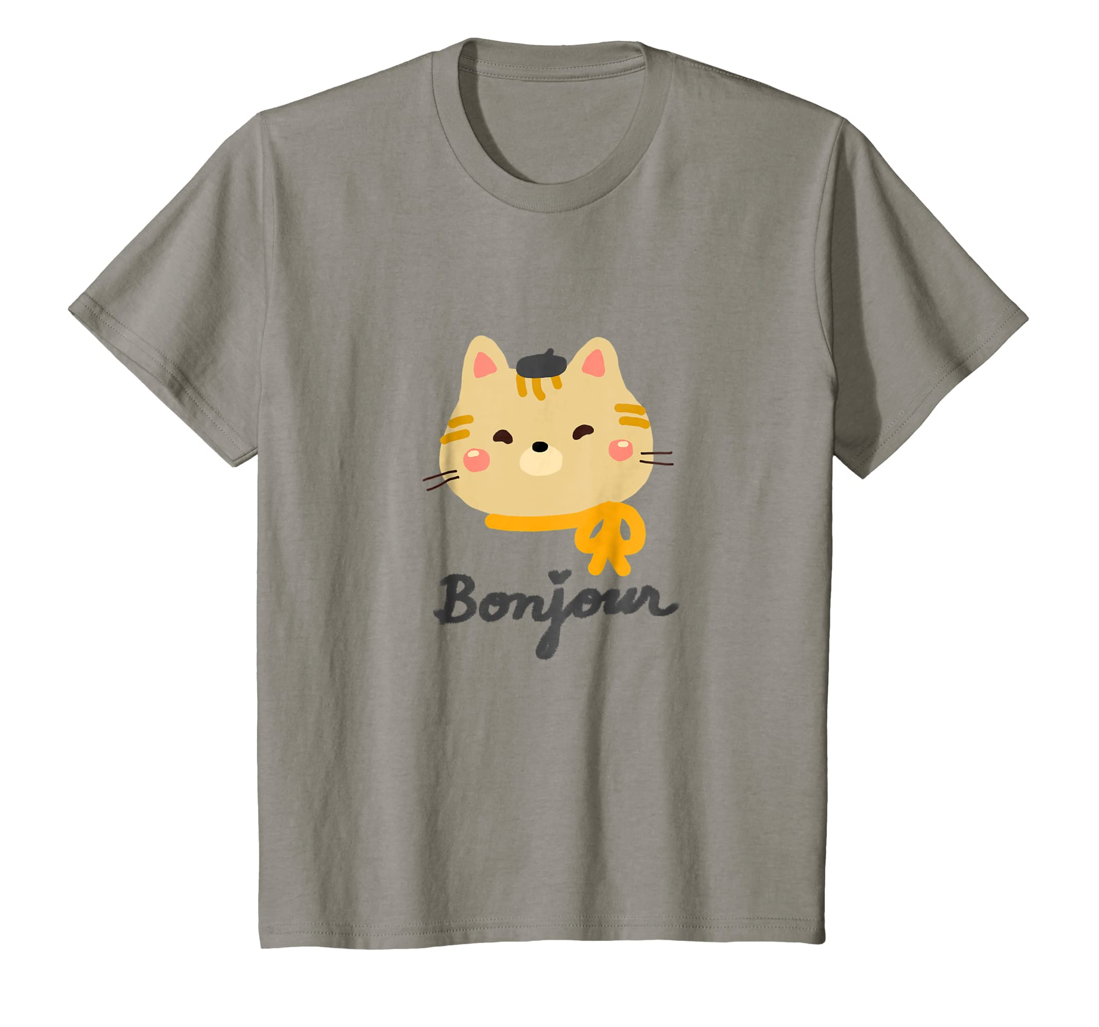 Amazon Com Cute Kitty Cat With Beret Saying Bonjour Graphic
