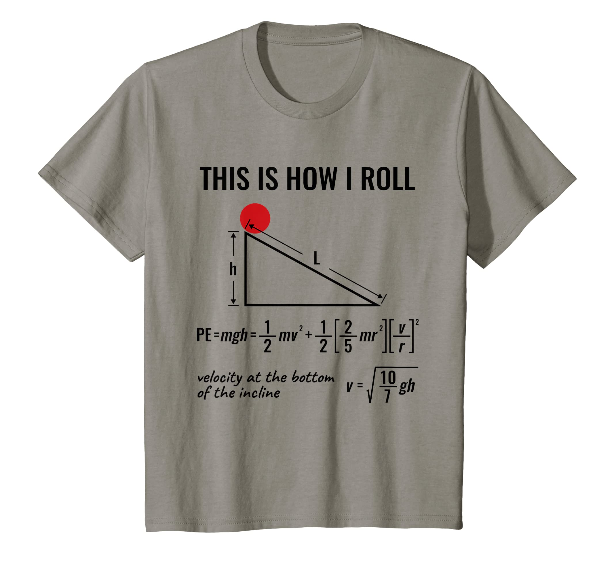 61ede0cc6 Amazon.com: Funny Physicist, Physics Equation T-Shirt This Is How I Roll:  Clothing