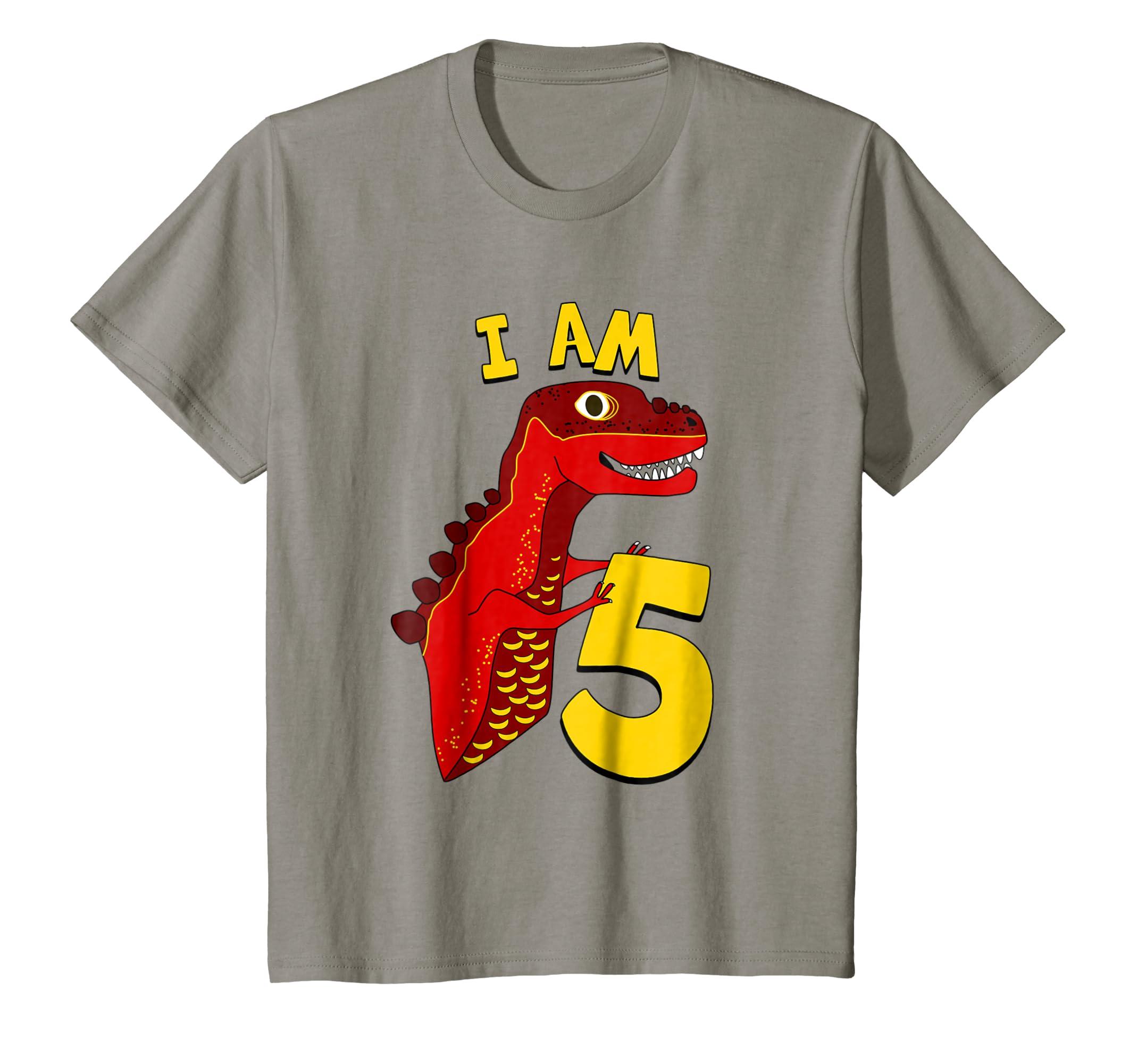 73d25d77 Amazon.com: Kids 5th Birthday Dino T-Shirt. Boys 5 year Birthday T-Rex Tee:  Clothing