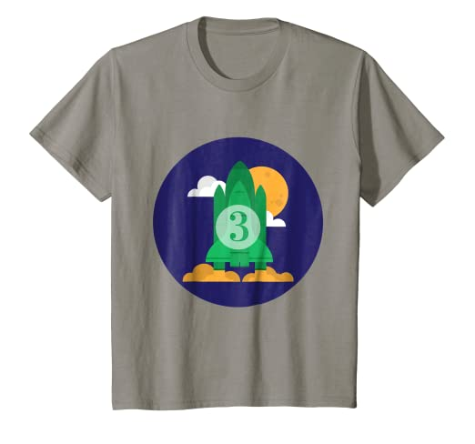 Image Unavailable Not Available For Color Kids Happy 3rd Birthday Rocket Blastoff To The Moon T Shirt
