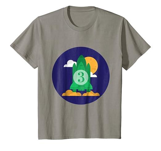 Kids Happy 3rd Birthday Rocket Blastoff To The Moon T Shirt