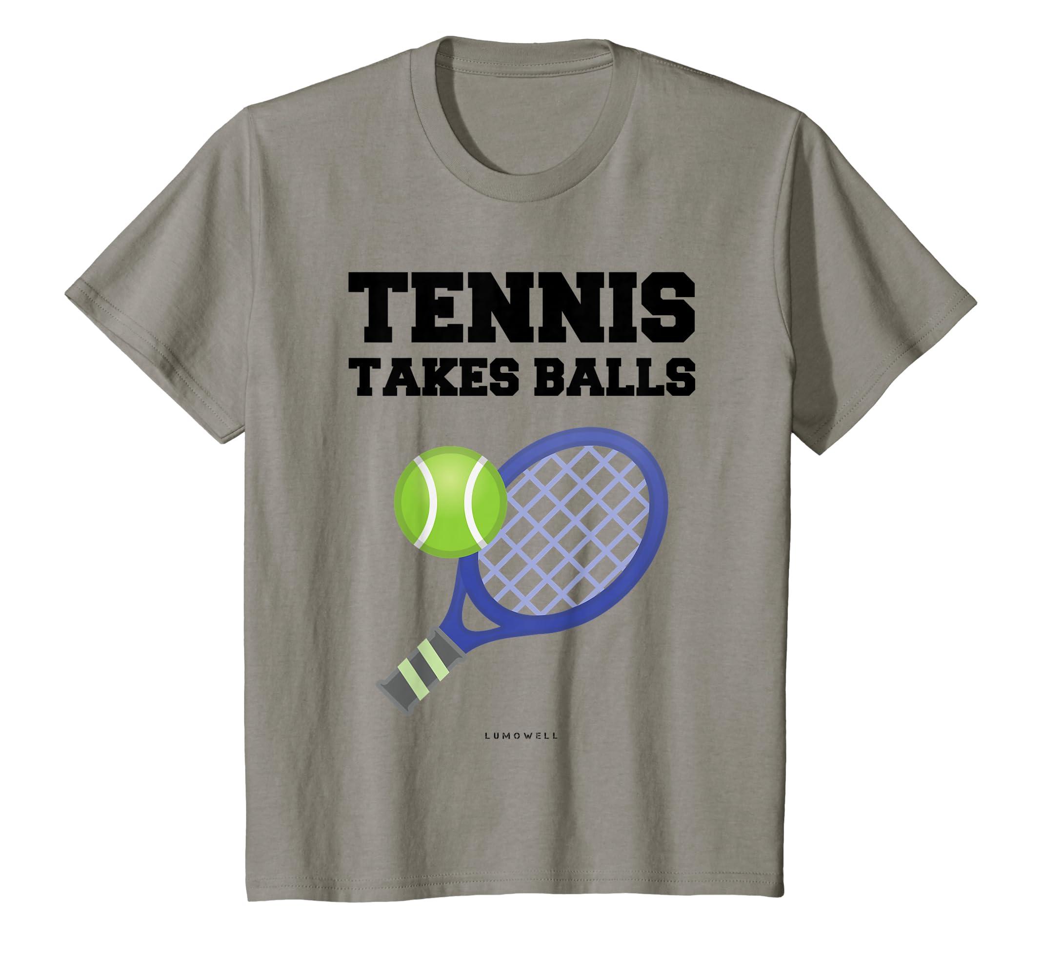 d42da511 Amazon.com: Funny Tennis T Shirts: Tennis Takes Balls Gift Tee Shirt:  Clothing