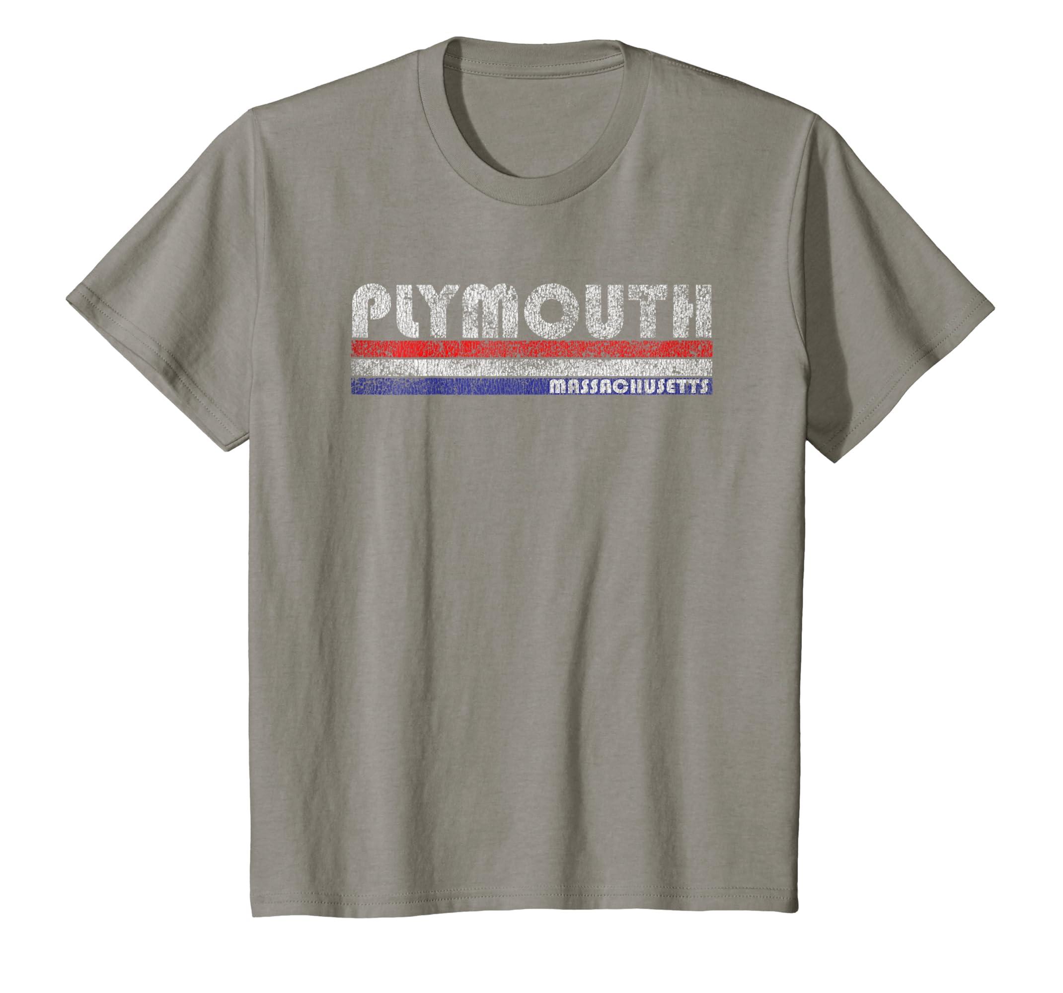 Amazon com: Vintage Plymouth MA Throwback T-Shirt: Clothing