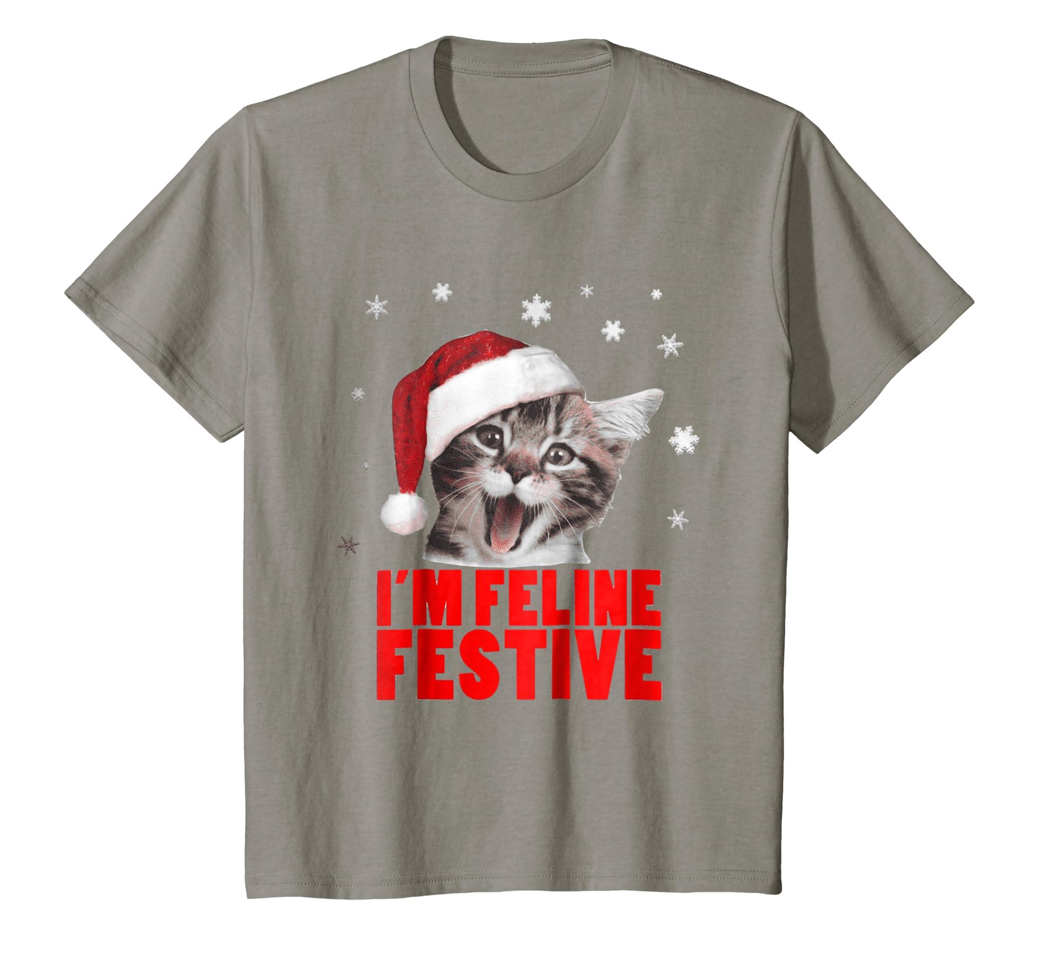 9365c4e1 Amazon.com: I'm Feline Festive Shirt | Cat Lover Christmas T Shirt: Clothing