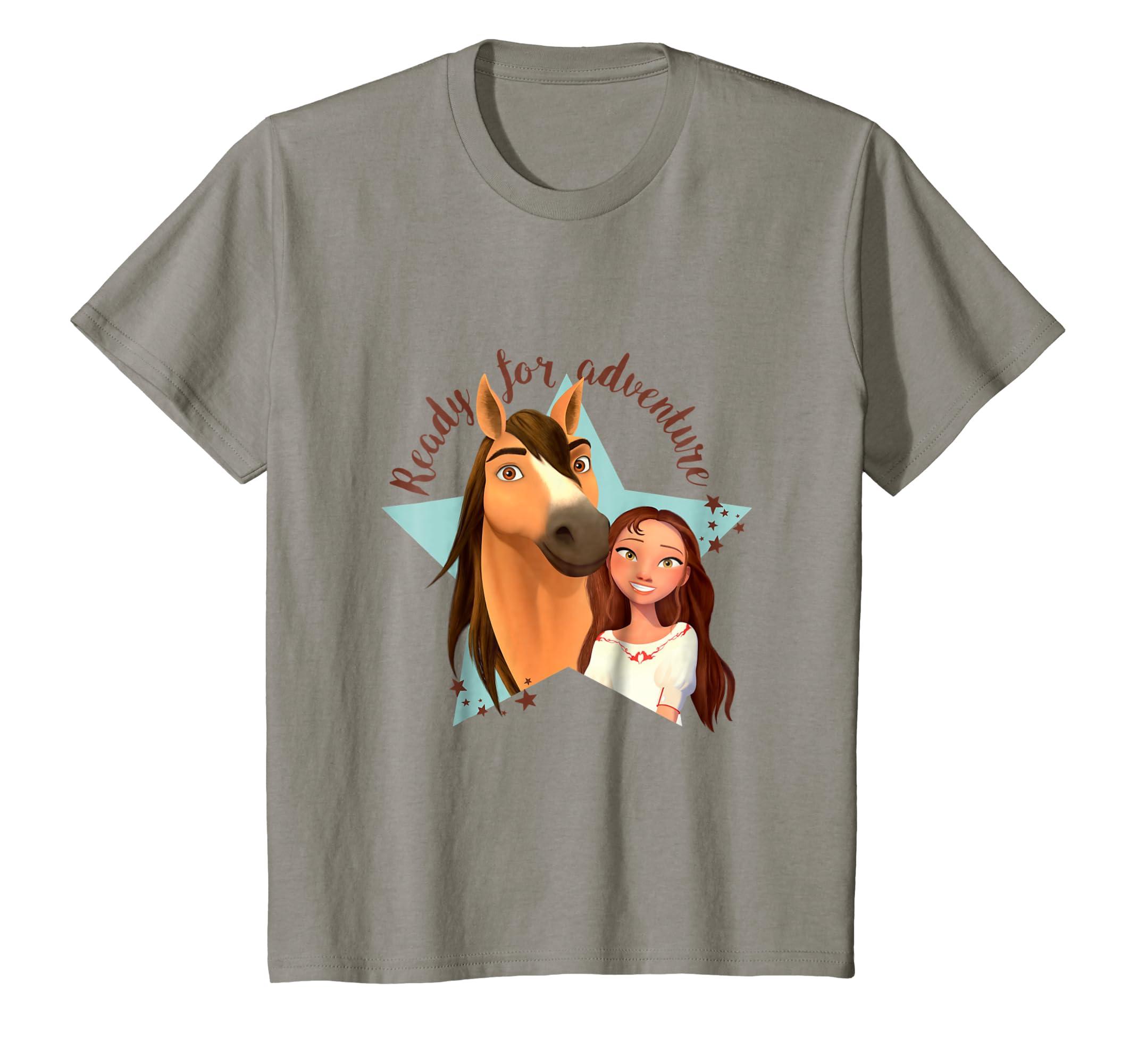 2ca3bc957 Amazon.com: Kids DreamWorks Spirit Riding Free - Star Adventure T-Shirt:  Clothing