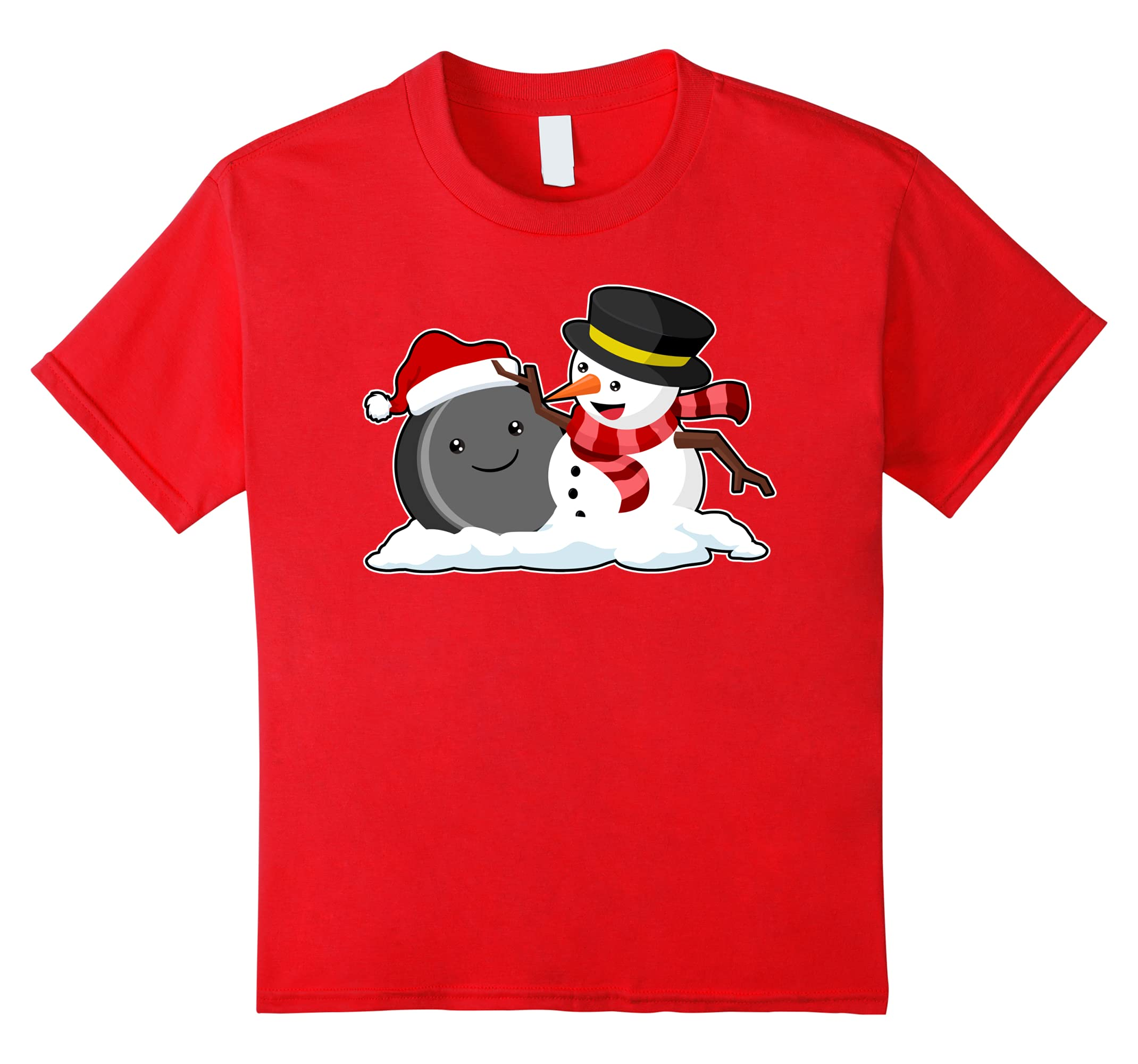 Hockey Snowman Christmas Sports T Shirt-Veotee