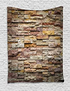 Ambesonne Marble Tapestry, Urban Brick Slate Stone Wall with Rocks Featured Facade Architecture Town Picture, Wall Hanging for Bedroom Living Room Dorm, 60
