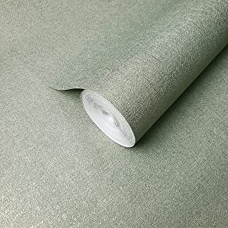 Italian Portofino wallcoverings embossed covering plain Vinyl Non-Woven Wallpaper olive green metallic modern textured double rolls faux sackcloth fabric cloth texture coverings 3D paste the wall only