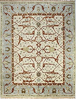 Bashian Vintage Collection HSA101 Hand Knotted 100% Wool Area Rug, 5.9' x 8.9', Ivory/Blue