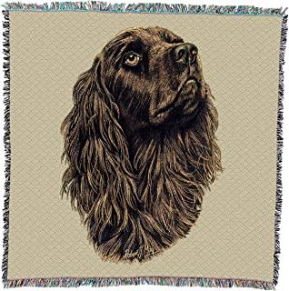 Pure Country Weavers - Boykin Spaniel Woven Throw Blanket with Fringe Cotton. USA Size 54x54