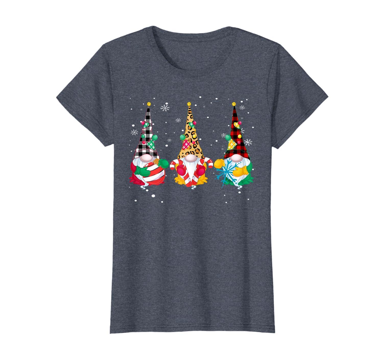Cute Nordic Gnomes Tomte Christmas Leopard Print Plaid tee T-Shirt-TH