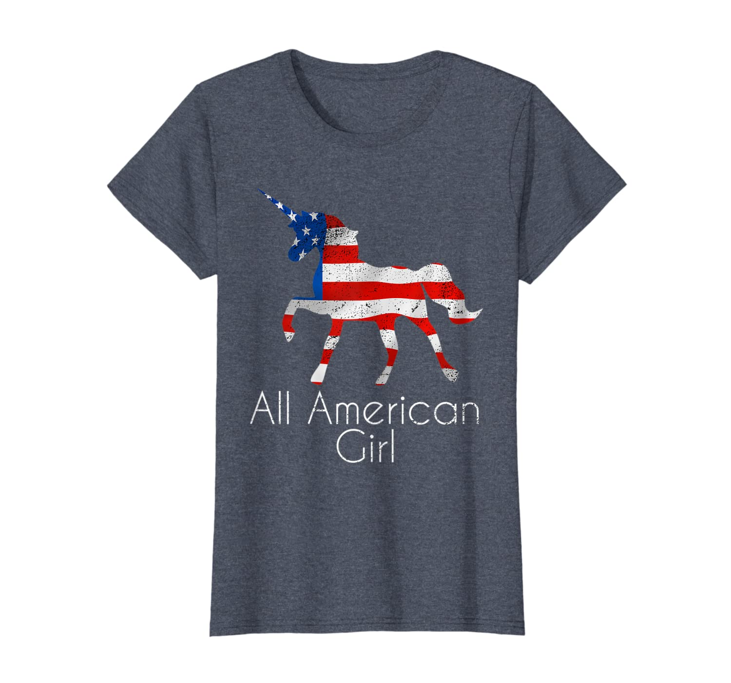 4th of July Unicorn Flag All American Girl Women Girls T-Shirt-ANZ