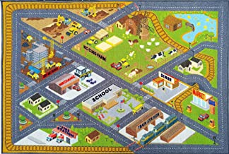 KC CUBS Playtime Collection Country Farm Road Map with Construction Site Educational Learning Area Rug Carpet for Kids and Children Bedroom and Playroom (5' 0