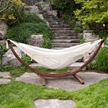 Vivere Double Cotton Hammock with Solid Pine Arc Stand- (Natural)