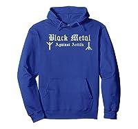 Black Metal Against Antifa Algiz Rune Graphic T-shirt Hoodie Royal Blue